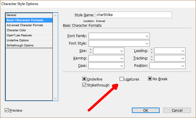 The InDesign character style dialog